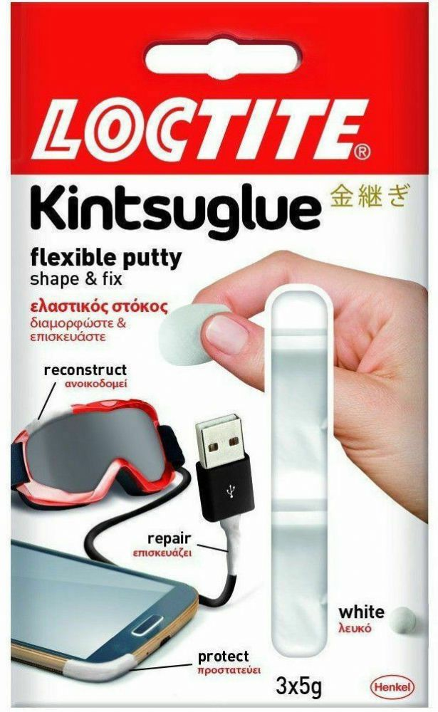 Loctite Kintsuglue Flexible Glue Putty Waterproof Repair Home Office White 3x5g